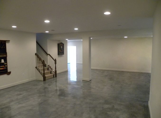 Here is another basement floor with stained concrete is for Concrete basement floor