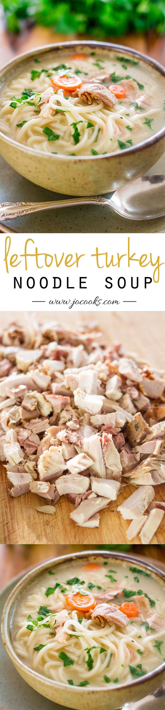 Leftover Turkey Noodle Soup - homemade turkey broth from the leftover turkey carcass, loaded with turkey and noodles. Perfect use of that leftover turkey.