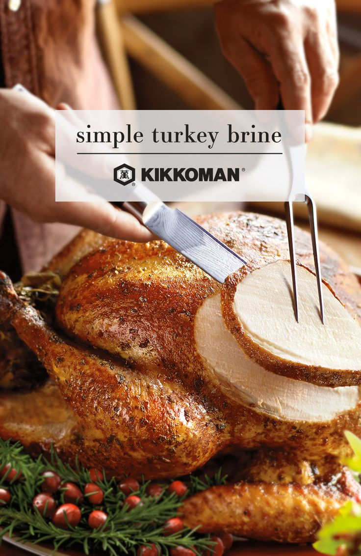 Impress the holiday crowd this year at your family's Thanksgiving party with the tastiest, juiciest golden turkey you've ever served. Even if this is your first time ever brining a turkey, we could not recommend it more highly. Find out how to get that delicious Thanksgiving bird perfectly juicy, with the help of some Kikkoman Soy Sauce or Kikkoman Less Sodium Soy Sauce and a few other magic ingredients. | recipe for Simple Turkey Brine on KikkomanUSA.com