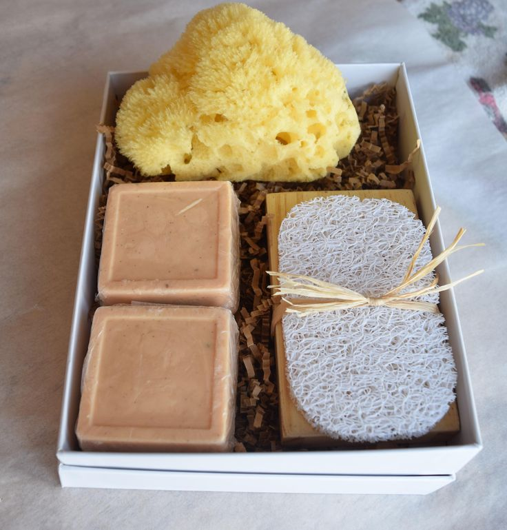 Gift Set Natural Sea Sponge  (2) Handcrafted Orange-Vanilla Bean Soaps with Soap Tray & Soap Saver // Gift Box // Natural Sea Sponge // by SkinCareByFPFT on Etsy