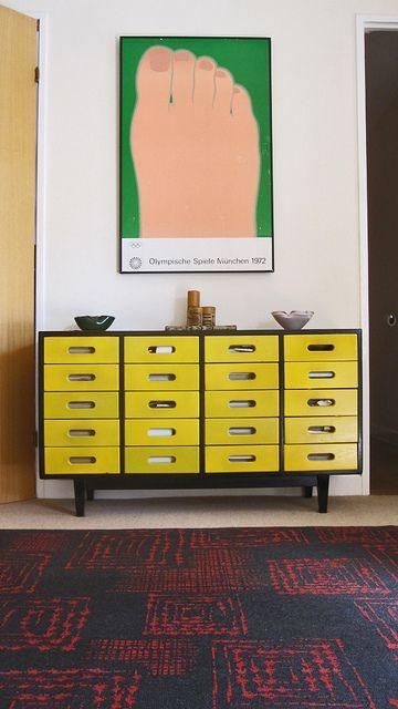 Wesselman poster & vintage cabinet
