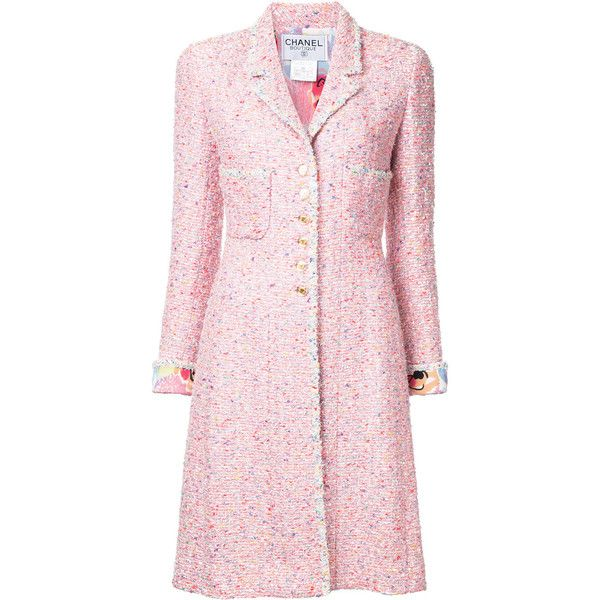 Chanel Vintage tweed coat ❤ liked on Polyvore featuring outerwear, coats, tweed wool coat, chanel, pink coat, chanel coat and tweed coat