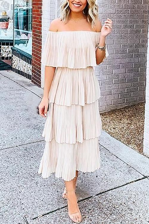 6e27c115f Off Shoulder Pleated Dress in 2019 | Trending Now | Pink ruffle ...