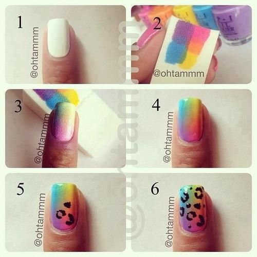uñas decoradas paso a paso - animal print arcoiris