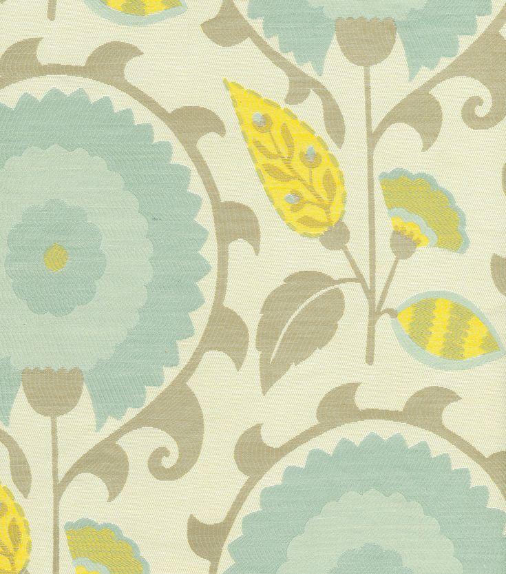 Upholstery Fabric-Waverly Flor Feliz Flint