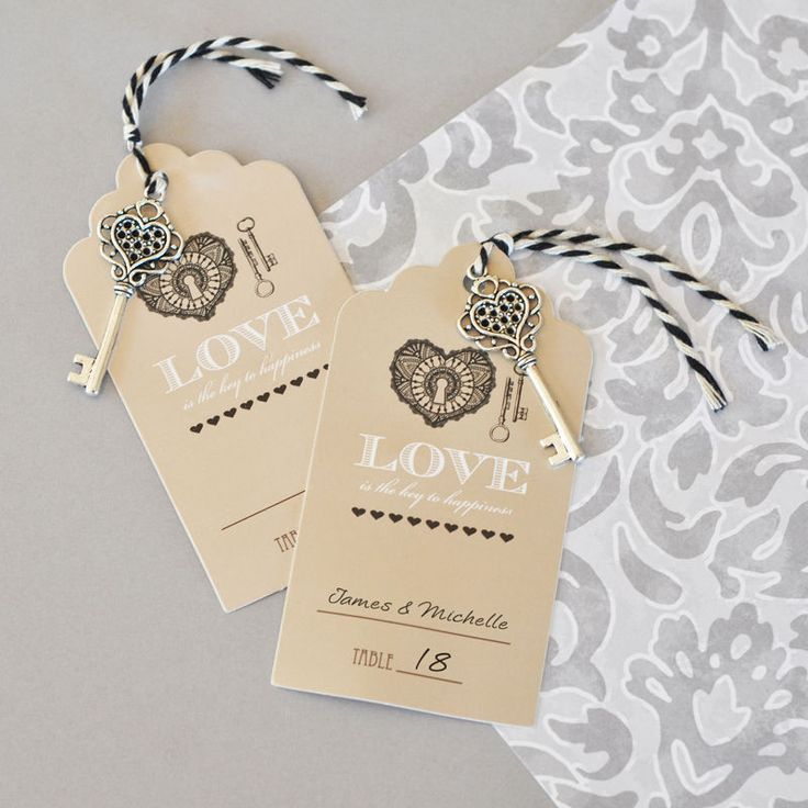 """Seat guests at your vintage wedding with these clever """"Love is the key to Happiness"""" Escort Cards. The perfect blend of modern flair and rustic elegance. Each antique looking place card """"tag"""" has a mi"""