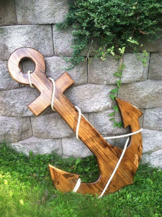"""48"""" Guest Book Alternative , Wooden Anchor,  Nautical Decor,Beach Anchor, Coastal Decor on Etsy, $485.00"""