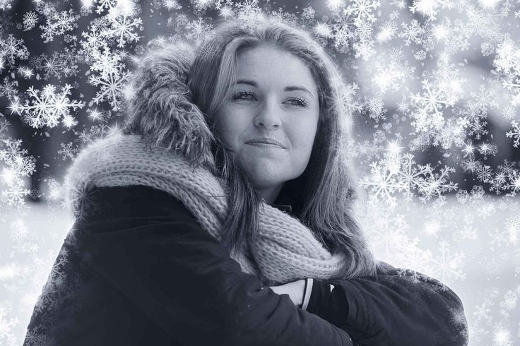 Woman with Magical Snow Flakes in Winter 1 - Artsy RF Stock Image - Amazing Royalty-Free Pictures at Great Prices - Stockphotodesign.com - #specialeffect #winter #snow #prettywoman #b/w #stockphoto