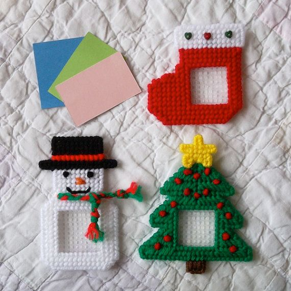 """Plastic Canvas: Holiday Frames Magnets -- Christmas (set of 3), """"Ready, Set, Sew!"""" by Evie"""