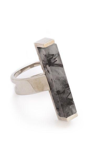 Visibly Interesting: Tourmalinated quartz Ring, geometric statement ring
