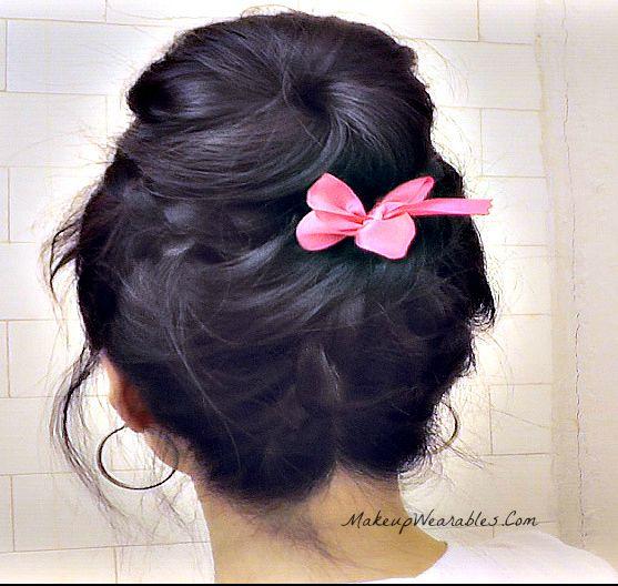 Romantic Sock Bun - Upside Down Braided Bun, Lace braid style for Short, Medium, Long hair.  Easy wedding, prom, everyday.