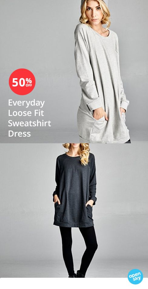 This popular stretch cotton sweatshirt dress is the ultimate closet staple and features raglan sleeves, perfect patch pockets, and a loose but super flattering fit. Pair it with your favorite leggings, or skinnies and accessorize away for an easy look you'll love for any occasion.