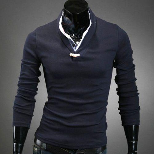 polo homme manches longues classy style elegant col chemise men fashion bleu polo t shirt. Black Bedroom Furniture Sets. Home Design Ideas