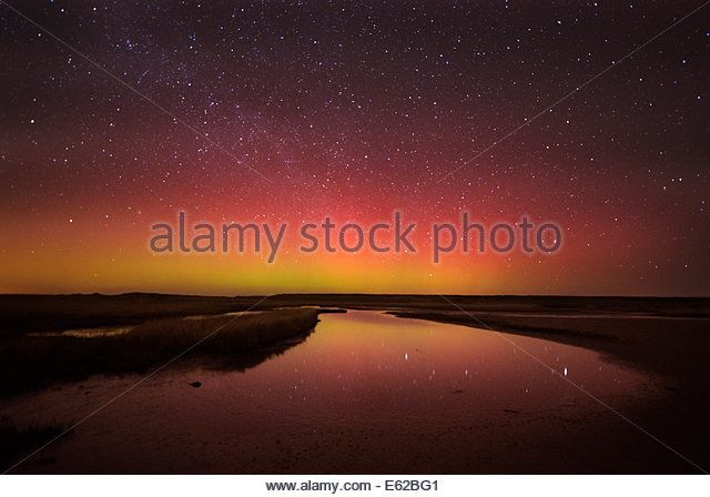 Aurora Borealis / Northern Lights lfrom East Bank, Cley, North Norfolk 27 February 2014 - Stock Image