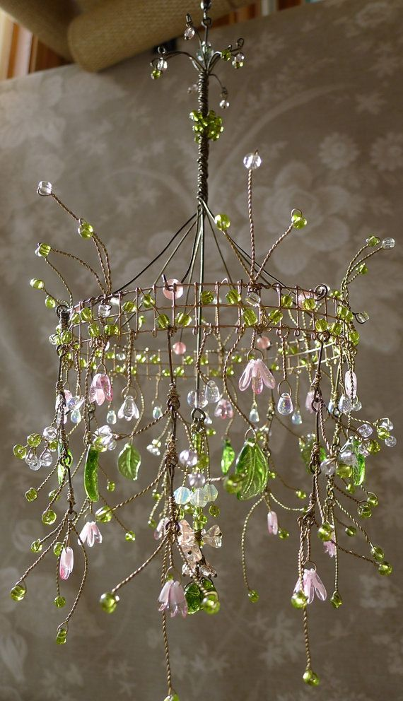 Chandellier made from wire and beads. Possibly a rainy-day DIY project?