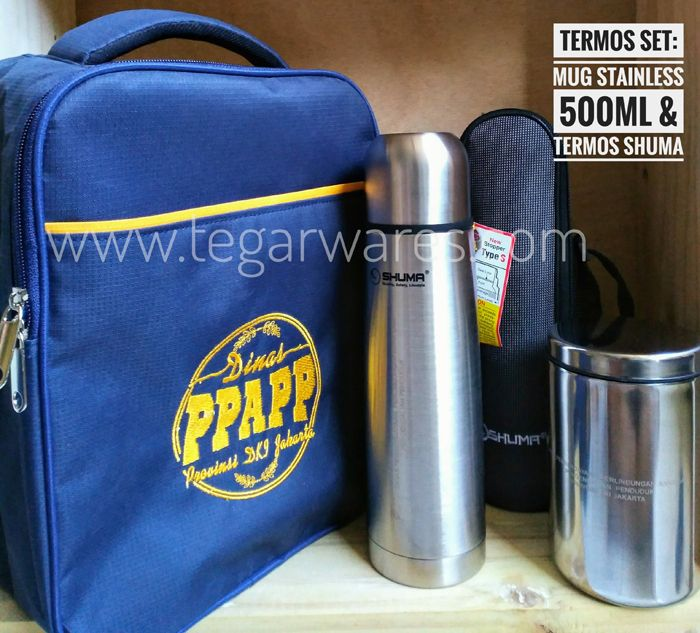 A Vacuum Flask Set contains of Shuma Vacuum Flask 500ml and stainless steel mug with a custom goody bag ordered by Dinas Pemberdayaan Perempuan, Perlindungan Anak dan Pengendalian Penduduk (The Office of Women's Empowerment, Child Protection, Population Control and Family Planning) Provinsi DKI Jakarta, Indonesia