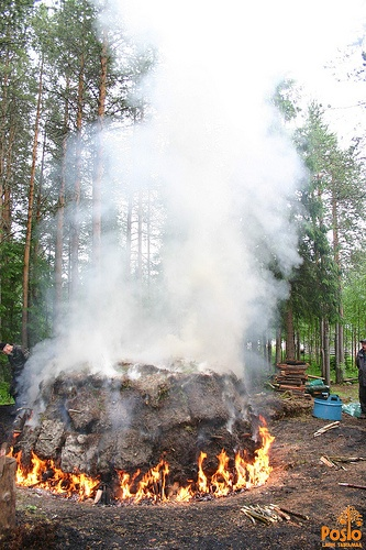 Charcoal pit on fire at Sirniö Blacksmith Event