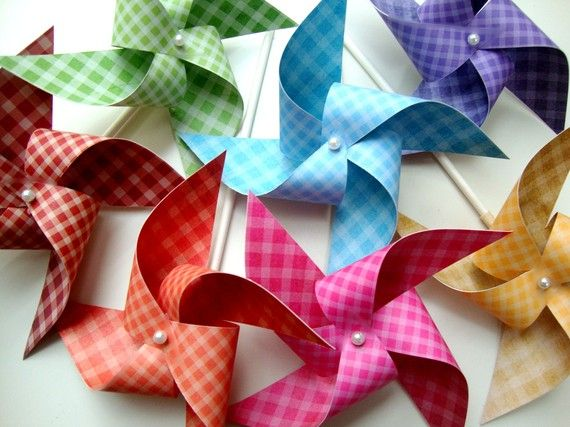 Pinwheels GINGHAM RAINBOW set of 7 mini pinwheels by PaperPolaroid, $14.00