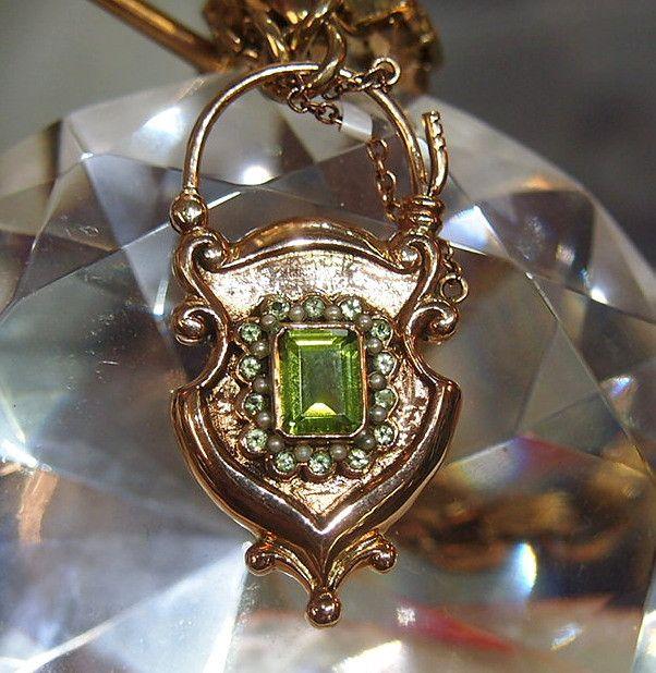 Jewellery-Locket-Antique Rose Gold, peridot and seed pearl set padlock