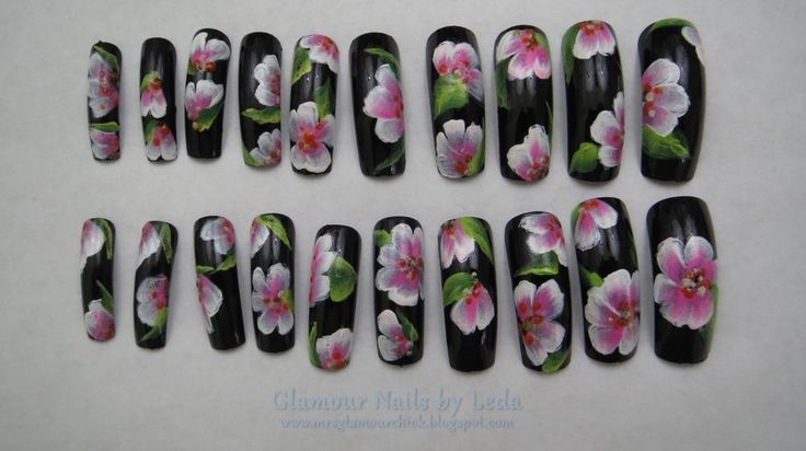 20 full well Long length tips Black nails with Pink and White one stroke art #handpainted