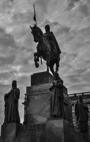 The bronze equestrian statue of St Wenceslas at the Wenceslas Square is one of the most famous sculptures in Prague made by Josef Václav Myslbek.