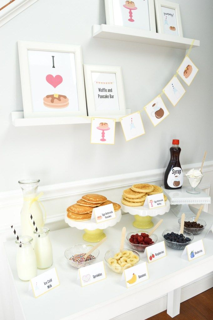 Celebrateindetail - A creative Pancake and Waffle Bar - A fun Friday night idea!  Includes free printables !  www.celebrateindetail.com