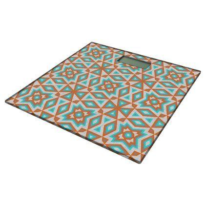 Turquoise Blue Orange Beige Eclectic Ethnic Look Bathroom Scale - patterns pattern special unique design gift idea diy