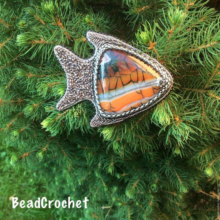Купить Брошь Рыбка Мечта - оранжевый, брошь, брошь рыбка, агат, индийская канитель, трунцал