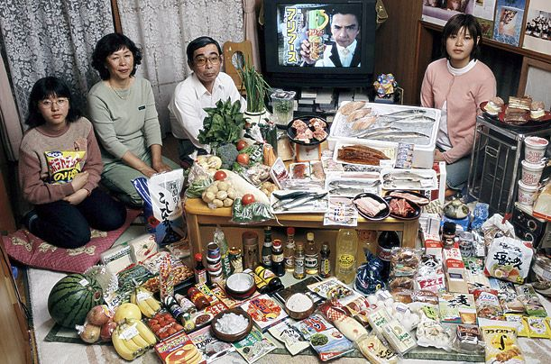 What the World Eats - A photo essay showing what different families around the world would eat in a typical week.  This is the Ukita family of Kodaira City, Japan - Food Expense for one week $317 USD.  Favorite foods:  sashimi, fruit, cake, potato chips.