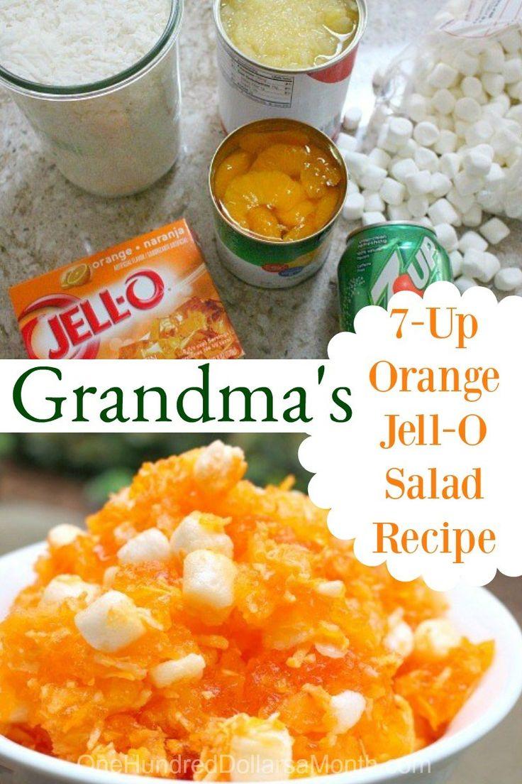 Grandma's 7-Up Orange Jell-O Salad Recipe, Jello Recipes, Jello Salads