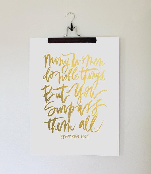 18x24 poster | faux gold foil proverbs print