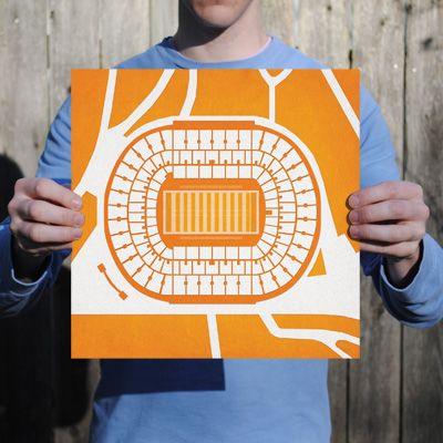 Neyland Stadium located at the University of Tennessee in Knoxville, Tennessee | College football prints from City Prints put you back in the stands on Saturdays. City Prints look like modern art and remind you of the unforgettable moments you experienced in your favorite seats