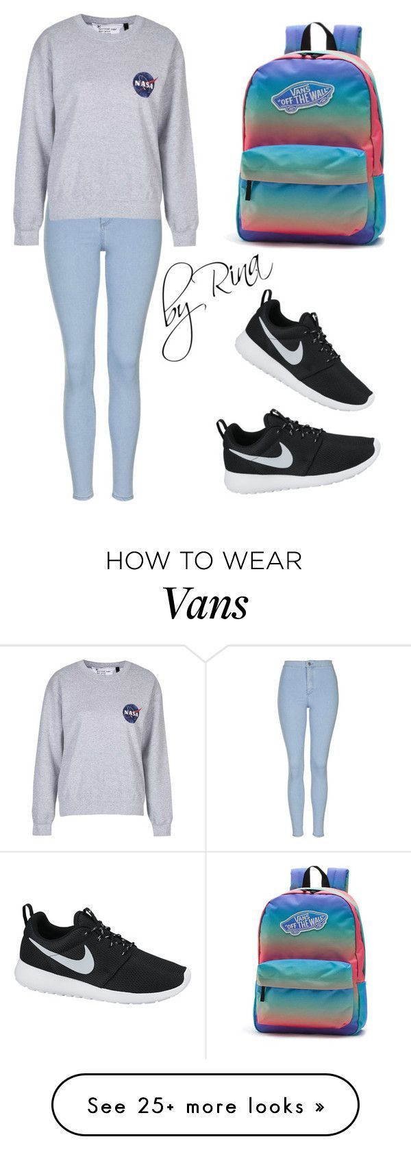 #19 by rinamoroz on Polyvore featuring Topshop, NIKE, Vans, womens clothing, women, female, woman, misses and juniors