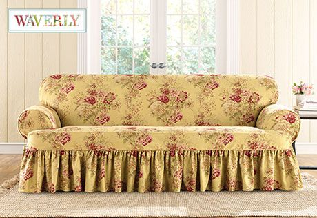 Sure Fit Slipcovers Ballad Bouquet By Waverlytm One Piece T Cushion Slipcovers Sofa Farmhouse Decor Pinterest Shops Chairs And Photos