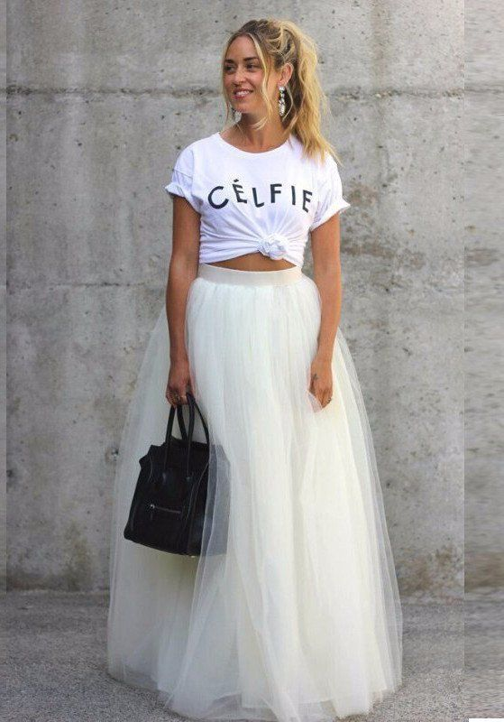 White MAXI Tulle Skirt