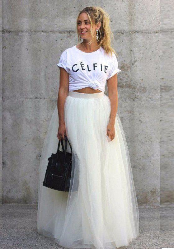 White MAXI Tulle Skirt
