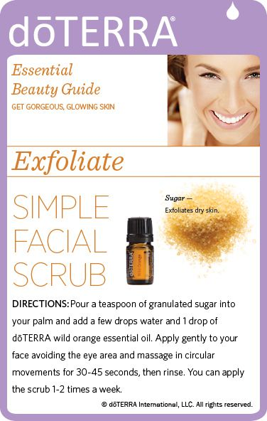 Recipe for a simple facial scrub made with sugar, water, and dōTERRA Wild Orange essential oil! www.doterra.com/patriciabachman