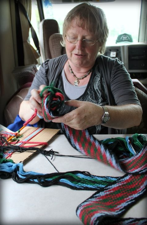Mechtild Morin - Métis Sash Weaver and Artist. Finger Weaving August 2012