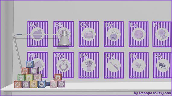 Purple Digital flashcards  Alphabet  Printable Toys by ArcDeGra