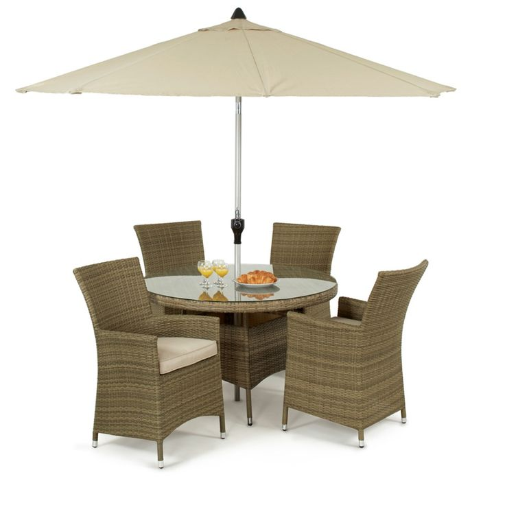 The Tuscany 4 seat Round is a wonderful little set for any patio area. With 4 LA chairs with thick padded cushions, you can relax in style. The 120cm table is topped with safety glass for your peace of mind and the synthetic rattan can be left outside all year round.