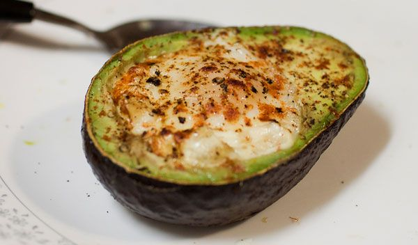 Baked egg in an avocado for a healthy, filling breakfast.