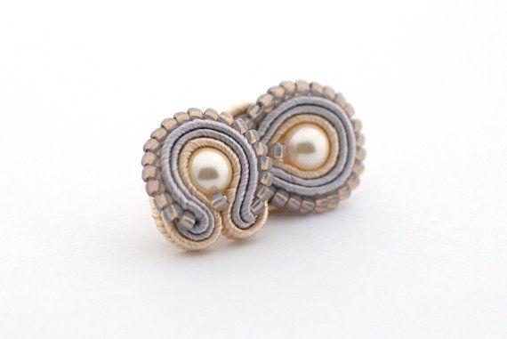 Beige Golden Gray Soutache Earrings, Cream Golden Gray Earrings, Jewelry Soutache, mini earrings