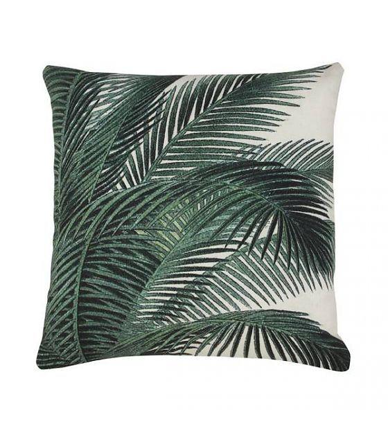 HK-living Sierkussen palm bladeren groen wit katoen 45x45cm - wonenmetlef.nl