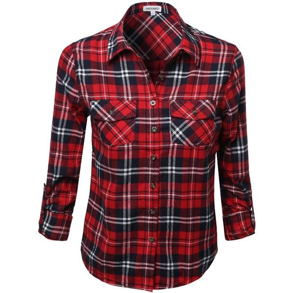 Awesome21 Women's Flannel Plaid Checker Rolled up Shirts Blouse Top found on Polyvore featuring tops, blouses, plaid flannel shirt, red top, plaid blouse, plaid shirt and red checked shirt