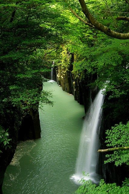 Takachiho Gorge, Japan, is a narrow chasm cut through the rock by the Gokase River