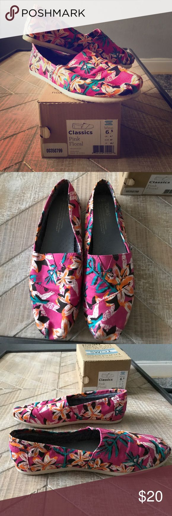 Toms Slip-ons Cute floral Toms Slip-ons. Worn a handful of times. Toms Shoes Flats & Loafers