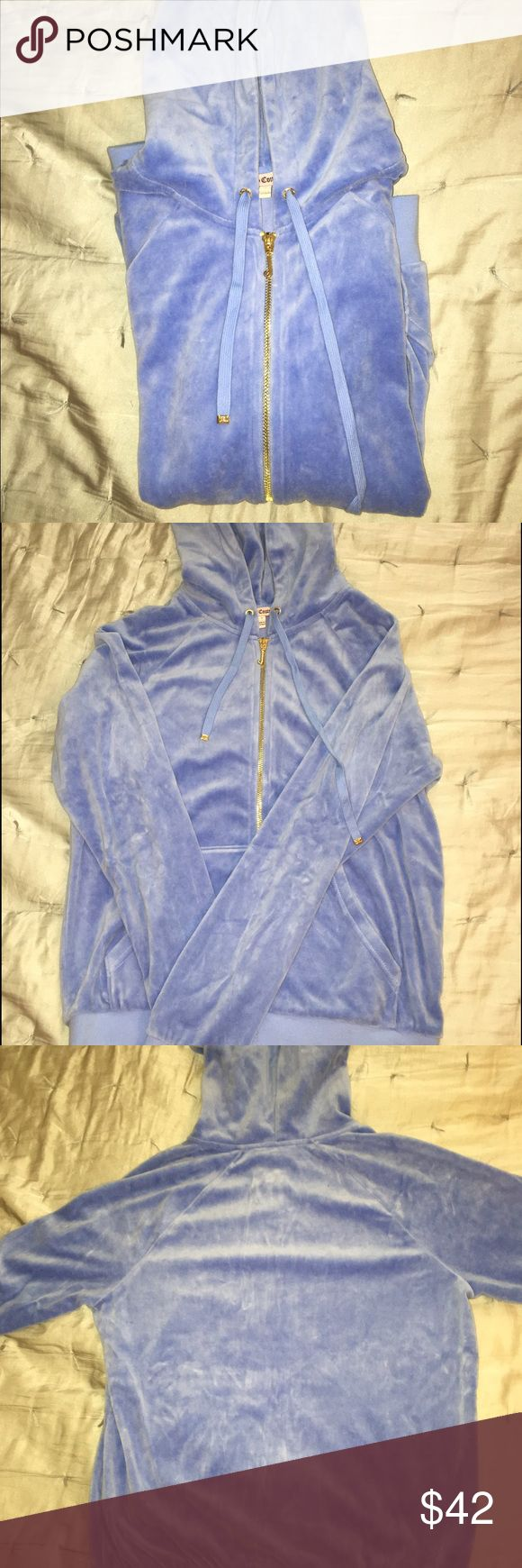 Light Blue Velour Juicy Couture Zip-Up This light blue zip up from Juicy is unbelievably soft and comfortable. Fits true to size, has been worn no more than twice. It is in pristine condition with no snags or stains. Plain back. Juicy Couture Tops