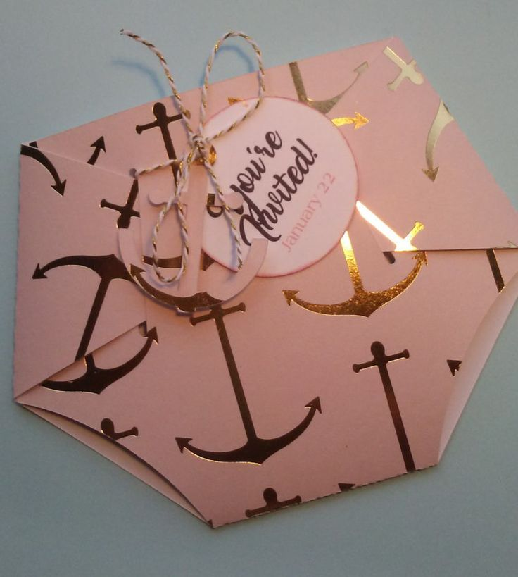 24 Baby Shower Diaper Nautical Anchor Invitation for Girl Pink and Gold Foil by InvitationsbyArisbet on Etsy