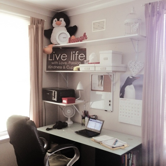 "My small home office which I have dubbed ""chick corner""."