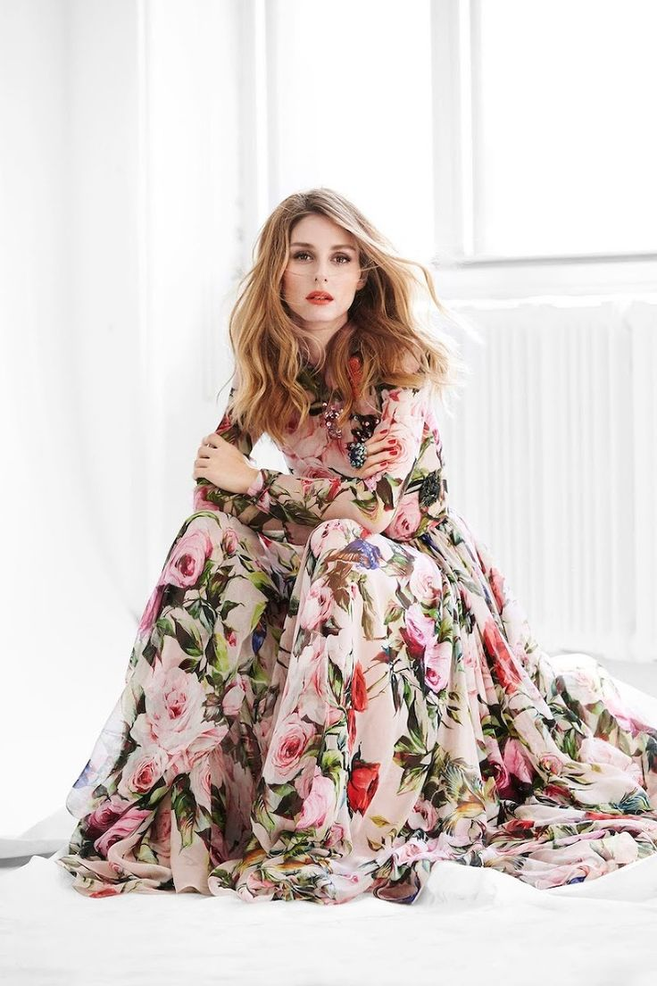olivia palermo in spring look : floral dress dolce & gabbana